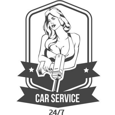 Väggdekor Bilservice retro vintage emblem med sexig kvinna håller drill
