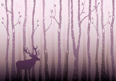 Väggdekor Björk skog, vektor