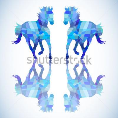 Väggdekor Blå abstrakt häst av geometriska tidigare