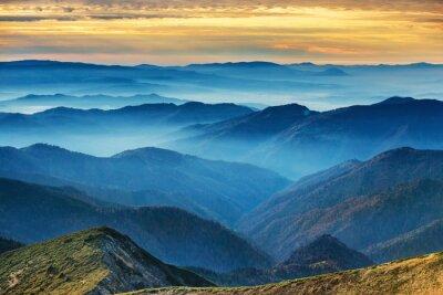 Väggdekor Blå berg och kullar