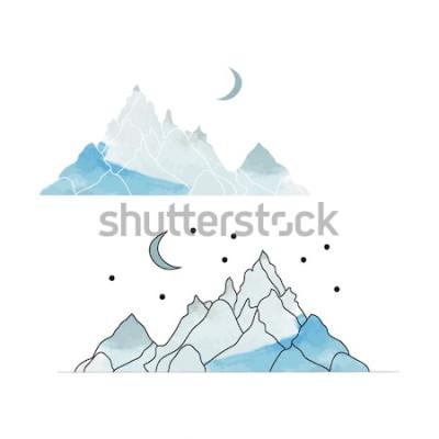 Väggdekor Blå berg. Teckning av ett landskap i stil med akvarell. Vektorillustration