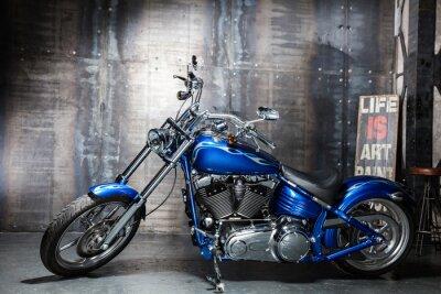 Väggdekor blå krom väg cykel