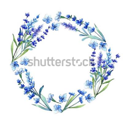 Väggdekor Blå lavendel. Blommig botanisk blomma. Vild vårblommig vildblommaram i akvarellstil. Aquarelle vildblomma för bakgrund, textur, omslagsmönster, ram eller gräns.
