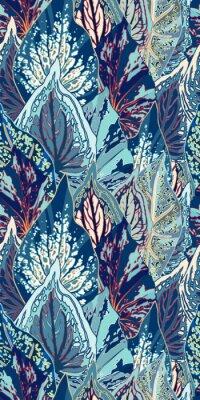 Väggdekor Blå Leaf Vector Seamless Illustration