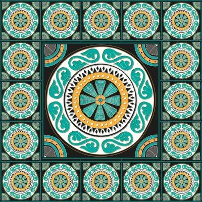 Väggdekor Blå roman kakel design
