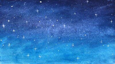 Väggdekor Blå stjärnhimmel i akvarell
