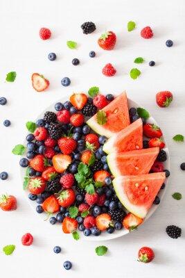 Väggdekor blåbär, jordgubbe, hallon, björnbär, vattenmelon
