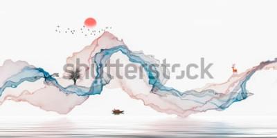 Väggdekor Bläckmålning, konstnärligt landskap, abstrakta linjer bakgrund