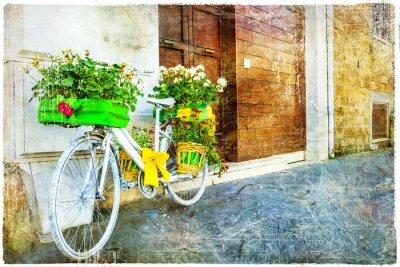 Väggdekor blom- cykel - charmig gata dekoration