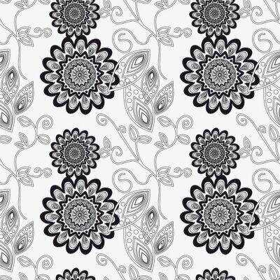 Väggdekor Blom- prydnad i svart och vitt.