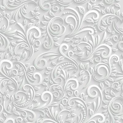 Väggdekor Blommig 3d Seamless bakgrund