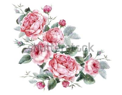 Väggdekor Blommig gratulationskort för klassisk vintage, akvarellbukett av engelska rosor, vacker akvarellillustration