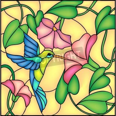 Väggdekor Blommig komposition med tropiska blommor och flygande brummande fågel Colibri, vektor illustration