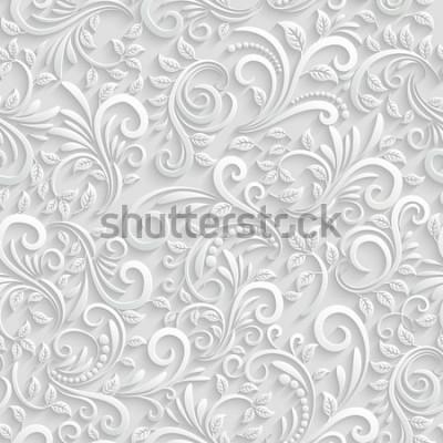 Väggdekor Blommig sömlös bakgrund för vektor 3d. För dekoration för jul och inbjudningskort