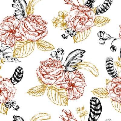 Väggdekor Blommig sömlös bakgrund med rosor och fjädrar