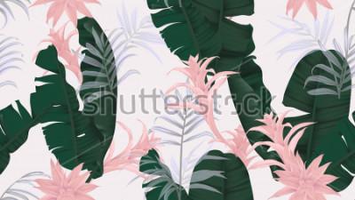 Väggdekor Blommigt sömlöst mönster, gröna bananblad, rosa Bromeliaceae växt- och palmblad på ljusgrå bakgrund, pastellfärgad tema