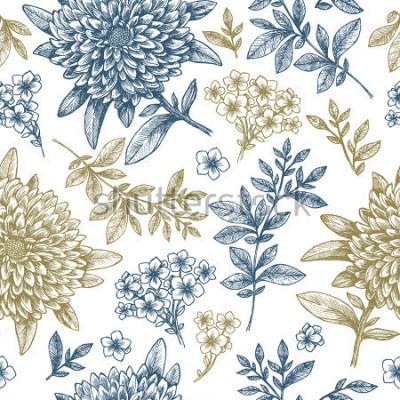 Väggdekor Blommigt sömlöst mönster. Linjära skissartad stilblommaelement. Vintagevävdesign. Vektorillustration