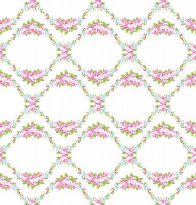 Väggdekor Blommönster med trädgård rosa rosor