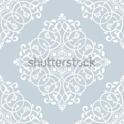 Väggdekor Blommönster. Tapet barock, damast. Sömlös vektorbakgrund. Blå och vit prydnad.