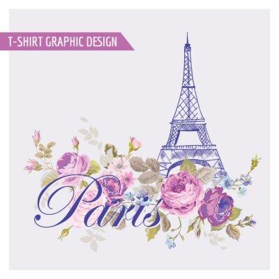 Väggdekor Blommor Paris grafisk design - för t-skjorta, mode, tryck