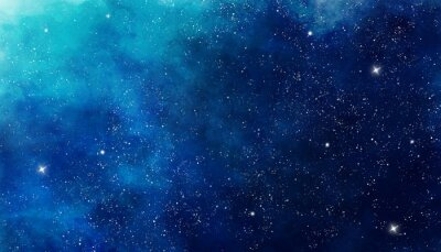 Väggdekor Blue watercolor space background. Illustration painting