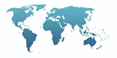 Väggdekor blue world map