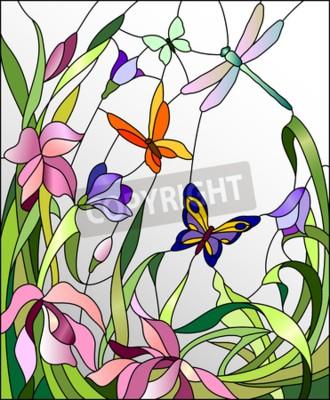 Väggdekor Blyinfattade fönster med blommor och fjärilar