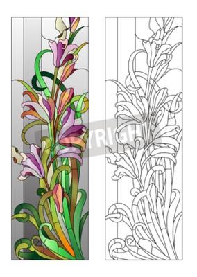 Väggdekor Blyinfattade fönster med lila blommönster