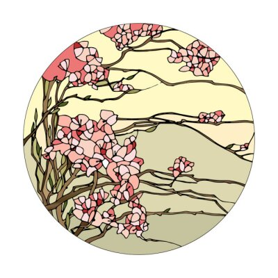 Väggdekor Blyinfattade fönster med sakura