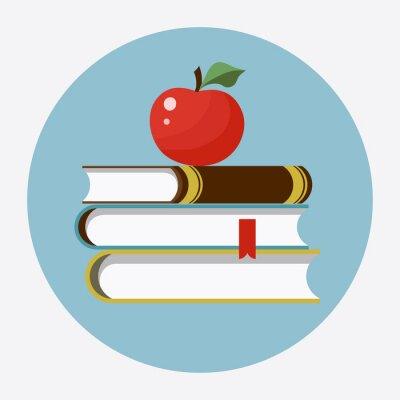 Väggdekor Böcker med äpple platt ikon
