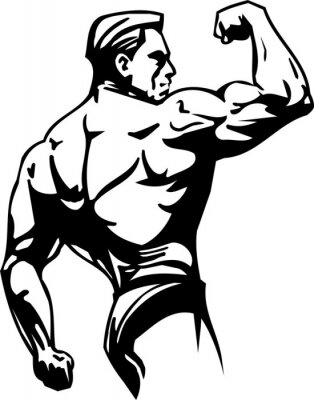 Väggdekor Bodybuilding och styrkelyft - vektor illustration.