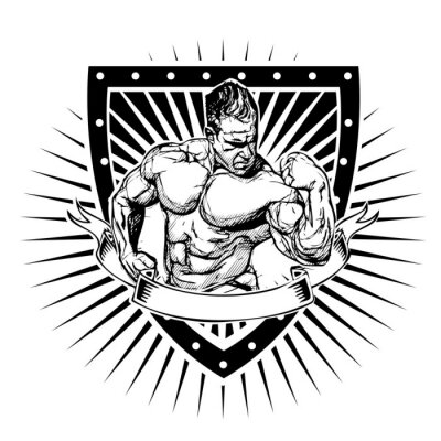 Väggdekor bodybuilding sköld