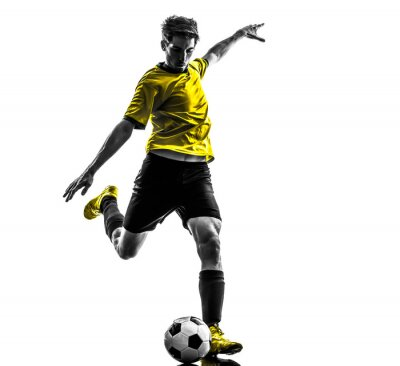 Väggdekor brasiliansk fotboll spelare ung man sparkar silhuett