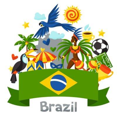 Väggdekor Brasilien bakgrund med stiliserade föremål och kulturella symboler