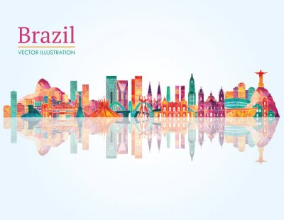 Väggdekor Brasilien Landmark silhuett. vektor