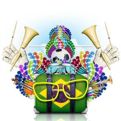 Väggdekor Brasilien, världens fotboll, festival och en karneval