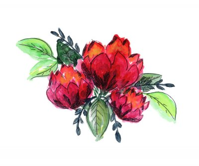 Väggdekor Bright watercolor red and green floral bouquet. Color painting composition with ink pen outline pink roses or peonies flowers and fresh leaves for invitation, wedding, greeting cards design, sticker