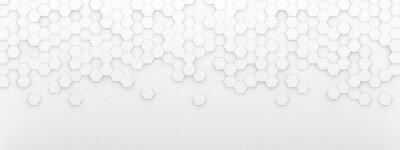 Väggdekor Bright white abstract hexagon wallpaper or background - 3d render