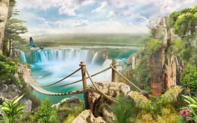 Väggdekor bron över vattenfall