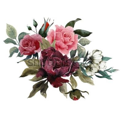 Väggdekor Bukett med rosor, pioner och eustoma, akvarell, kan användas som gratulationskort, inbjudningskort för bröllop, födelsedag och annan semester- och sommarbakgrund