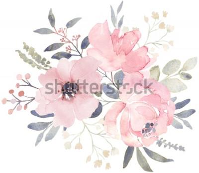Väggdekor Bukettkomposition dekorerad med dammiga rosa akvarellblommor och eukalyptusgrönska