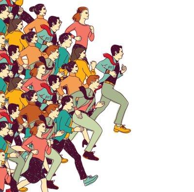 Väggdekor Business människor stor grupp konkurrens färg
