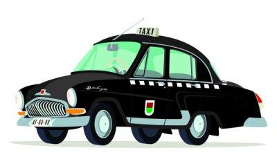 Väggdekor Caricatura GAZ Volga M21 taxi Praga - Checoslovaquia neger vista frontal y lateral