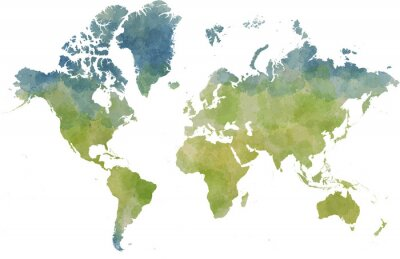 Väggdekor Cartina mondo, disegnata Illustrata pennellate