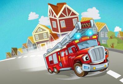 Väggdekor cartoon fire brigade driving through the city - illustration for children