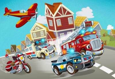 Väggdekor cartoon scene with fireman vehicle on the road with police car and ambulance - illustration for children