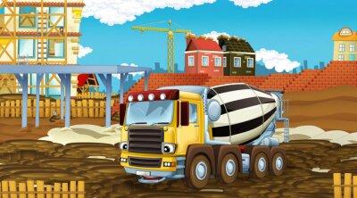 Väggdekor cartoon scene with industry cars on construction site - illustration for children