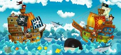 Väggdekor cartoon scene with pirates on the sea battle - illustration for the children