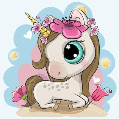 Väggdekor Cartoon Unicorn med blommor på en blå bakgrund