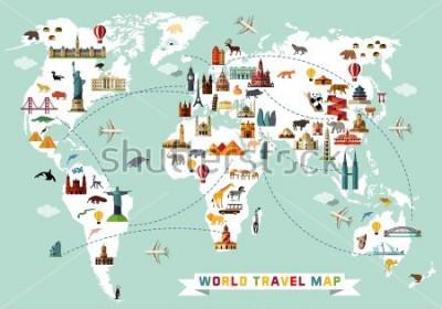 Väggdekor Cartoon world map with animal and sightseeing attractions. Vector Illustration.